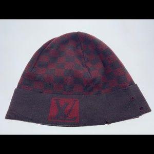 Louis Vuitton wool hat red/brown black damier